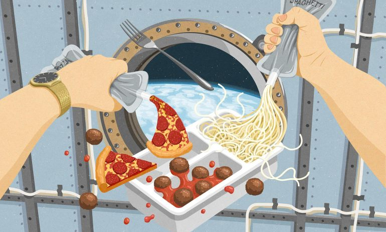 Comfort food in space: the final frontier | ideas.ted.com | Illustration by John Holcroft.
