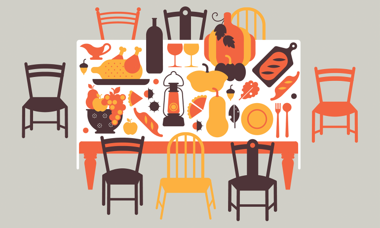 Thanksgiving table illustration