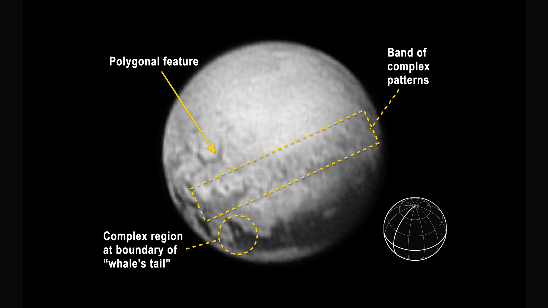 The complex features of Pluto are visible in this annotated closeup. Composite image courtesy NASA/JHUAPL/SWRI.