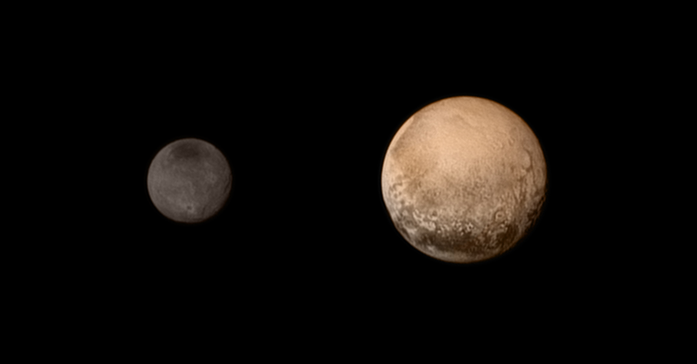 Pluto and its largest moon, Charon, could be considered a double planet. The balance point between them is between them in space, not within Pluto, so they're orbiting together around a point in space. This is our first mission to a double planet.