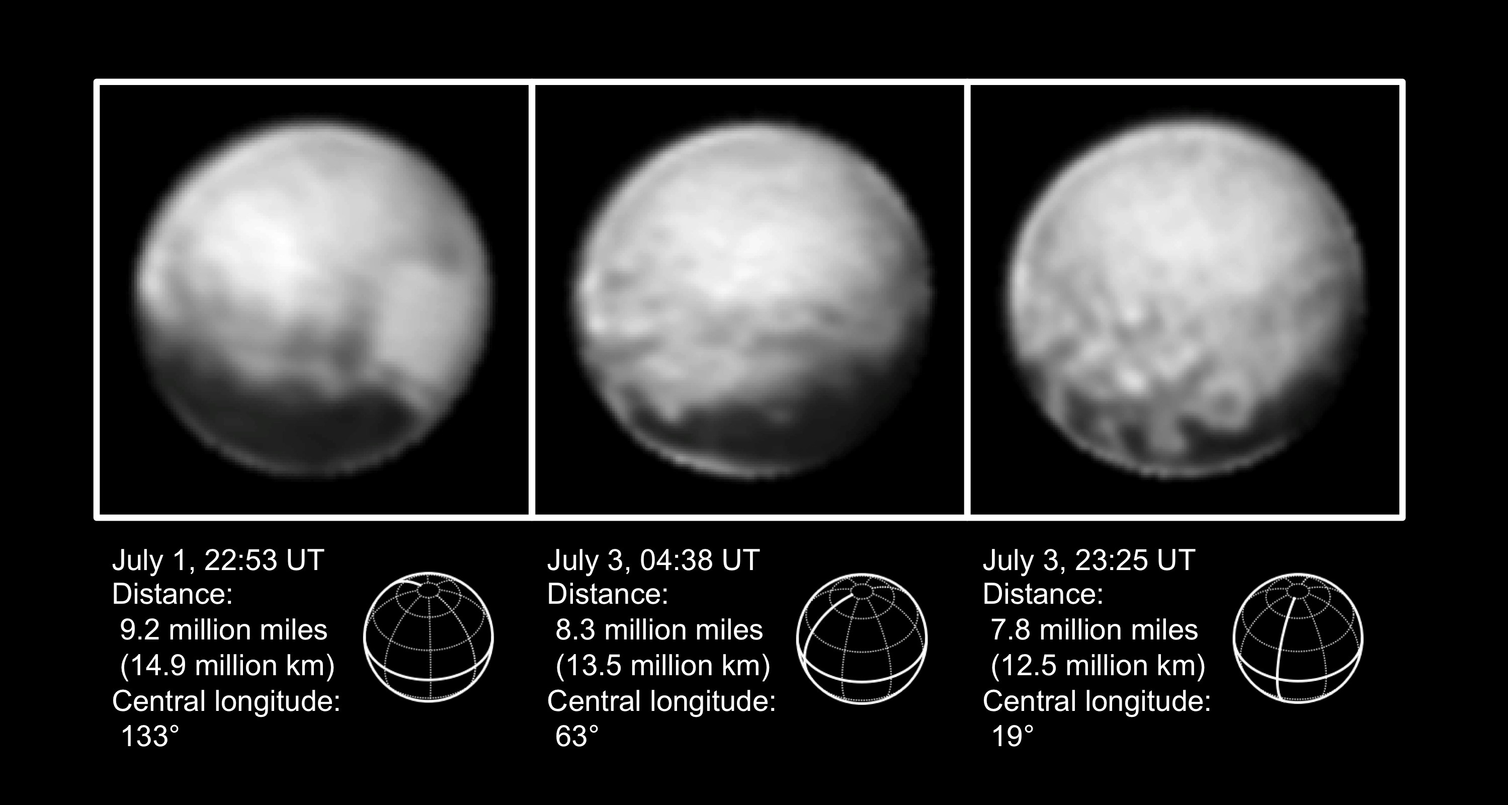 The most recent high-resolution views of Pluto sent by NASA's New Horizons spacecraft. Image courtesy NASA/JHUAPL/SWRI.