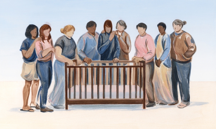 Illustration: a group of people gather supportively around a person looking sadly into an empty crib